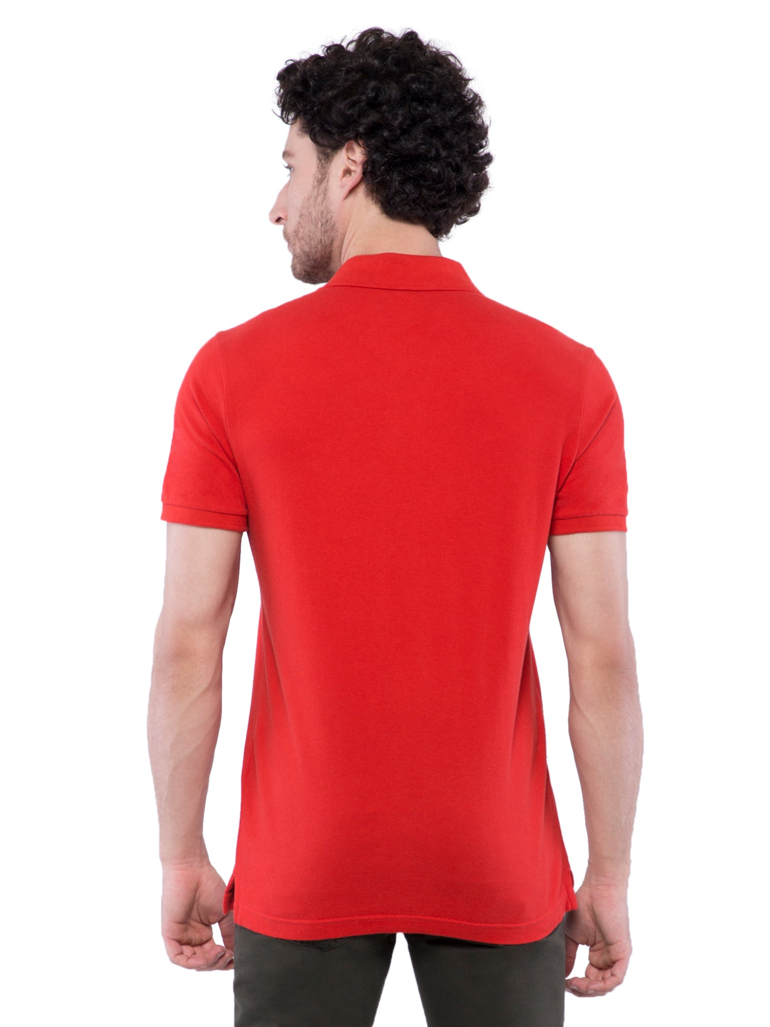 Hollister Men Red Solid Stretch Pique Polo