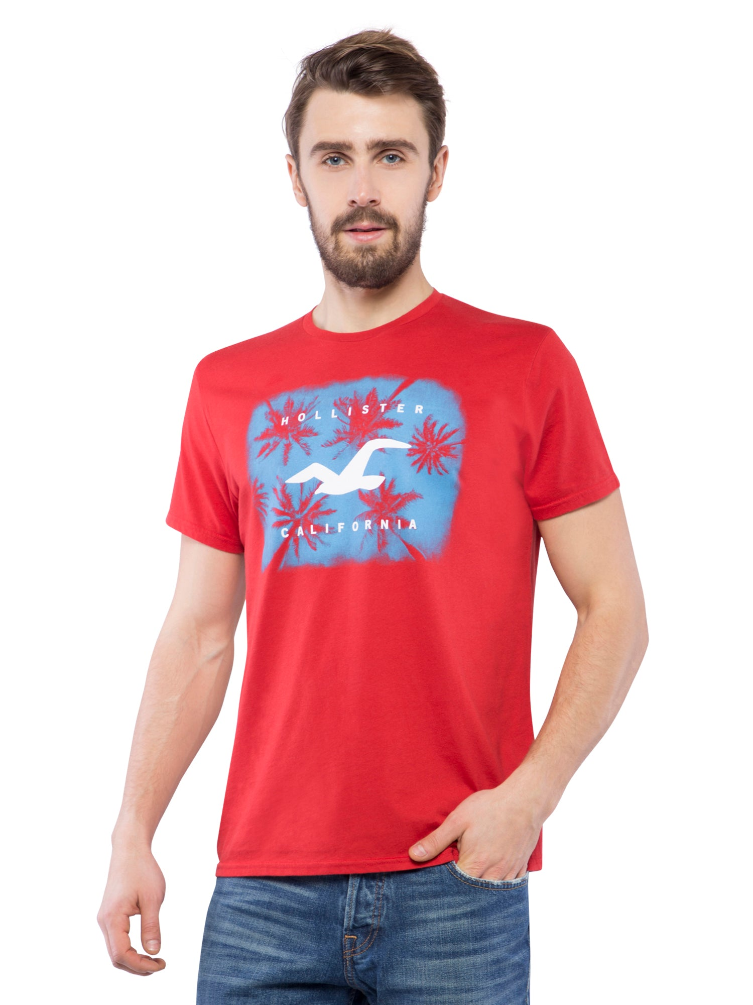 Hollister Men Red Printed Crew Neck T-Shirt