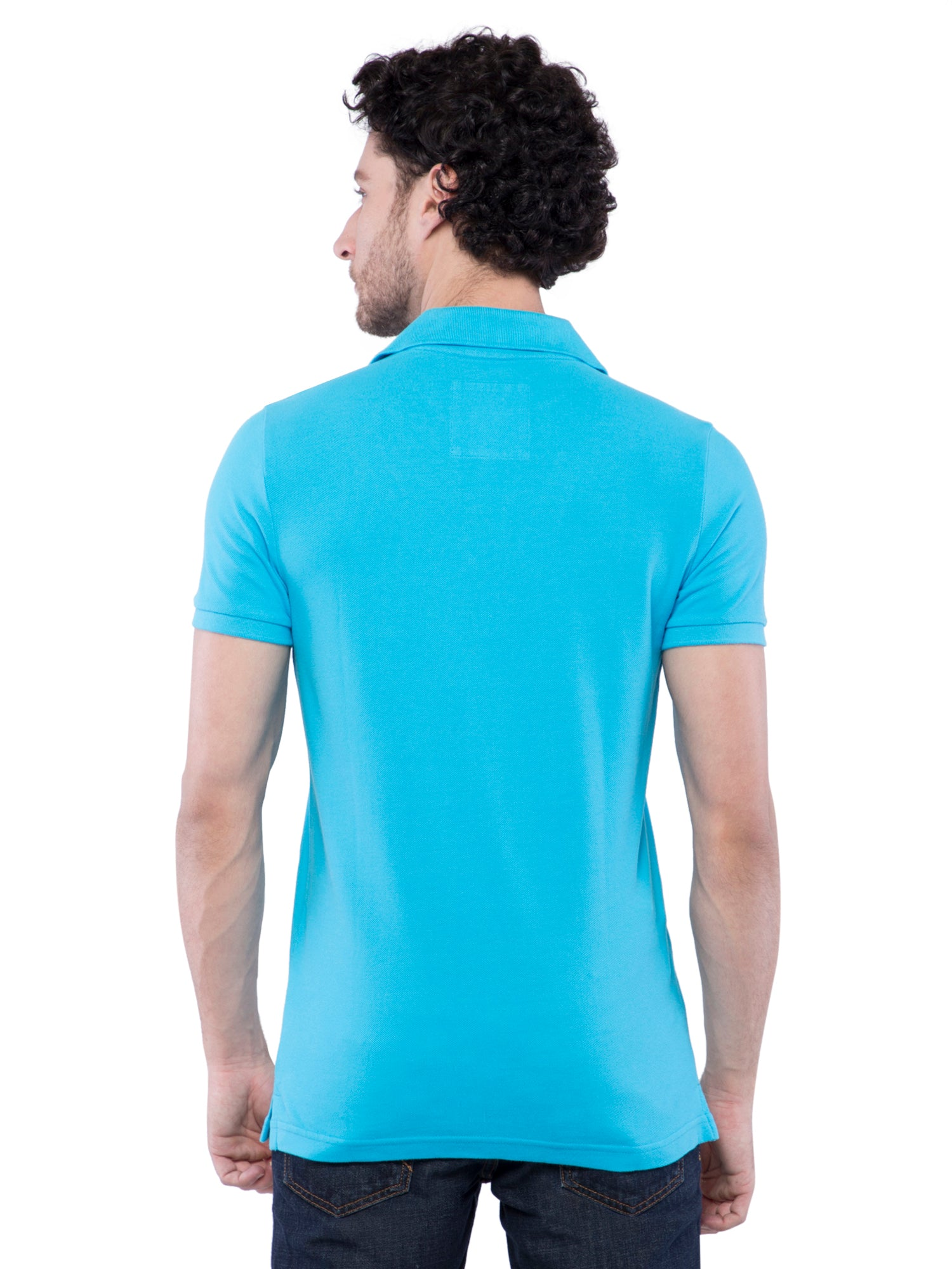 Hollister Men Sky Blue Stretch Pique Polo