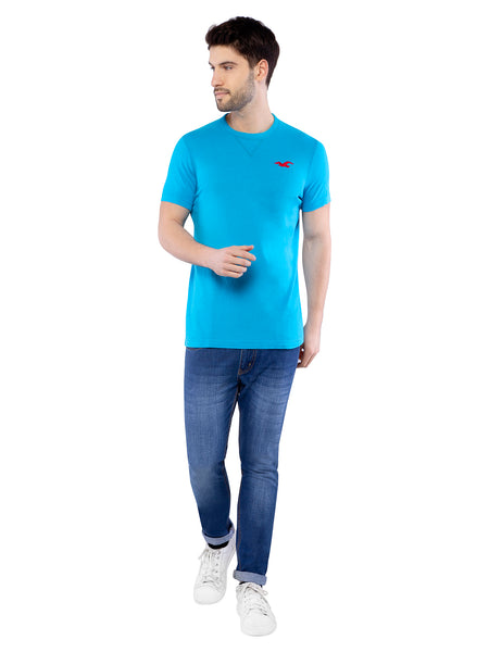 Hollister Men Sky Blue Crew Neck T-shirt