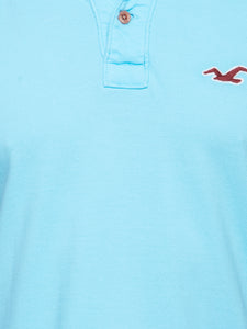 Hollister Men Sky Blue Solid Stretch Pique Polo