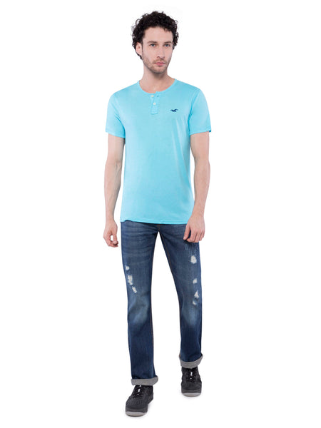 Hollister Men Sky Blue Henley T-Shirt