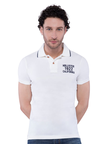 Hollister Men White Stretch Pique Polo