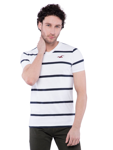 Hollister Men White V-Neck T-shirt