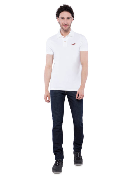 Hollister Men White Solid Stretch Pique Polo
