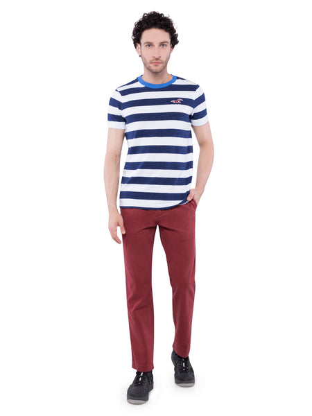 Hollister Men Striped Crew Neck T-Shirt