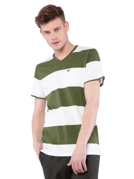 Hollister Men Striped V-Neck T-Shirt