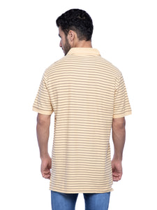 Old Navy Men Yellow Striped Polo