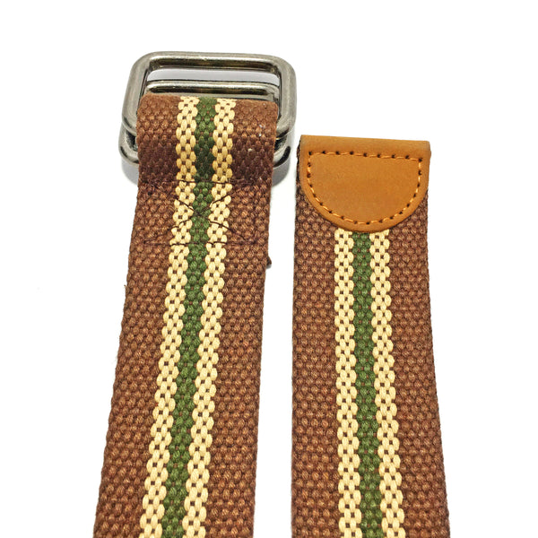 Ficuster Unisex Nickel Double Ring Buckle Tan Cotton Canvas Belt
