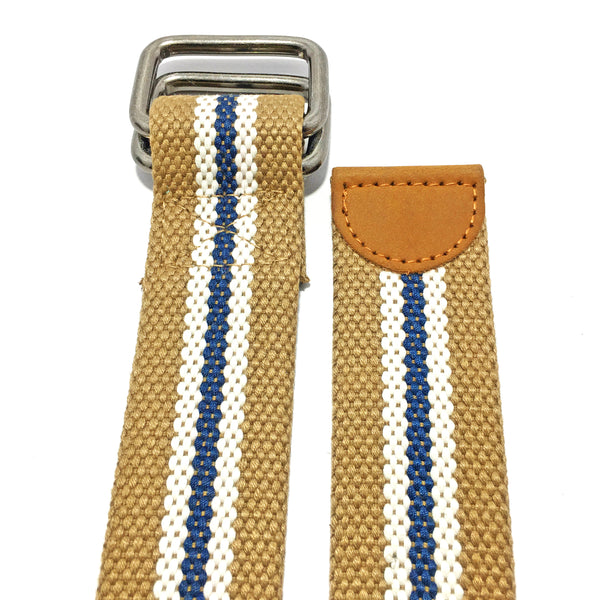 Ficuster Unisex Nickel Double Ring Buckle Beige Cotton Canvas Belt