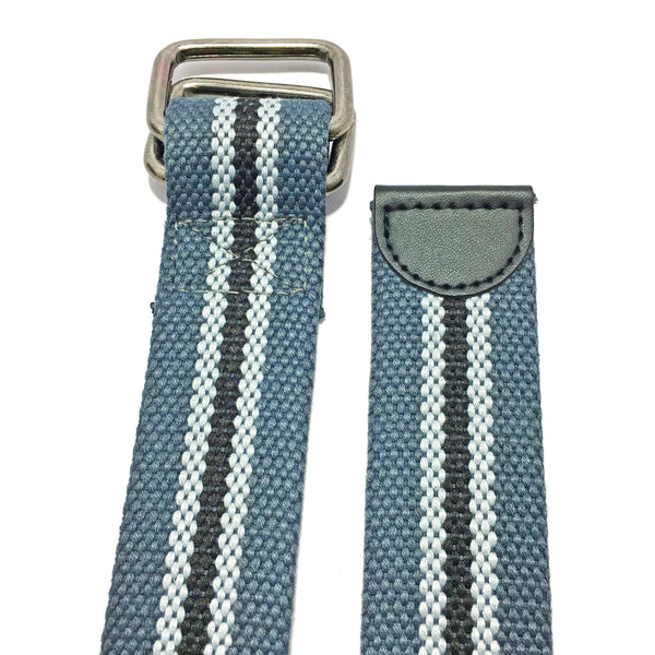 Ficuster Unisex Double Ring Nickel Buckle Grey Cotton Canvas Belt