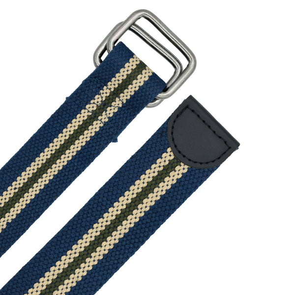 Ficuster Unisex Double Ring Nickel Buckle Dark Blue Cotton Canvas Belt