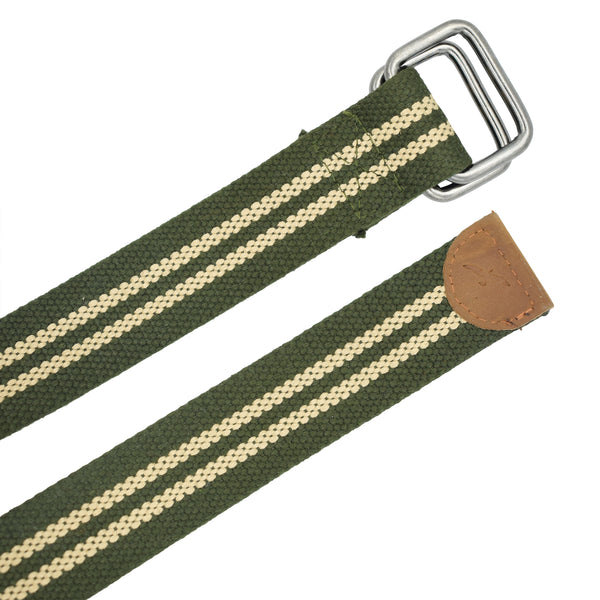 Ficuster Unisex Double Ring Nickel Buckle Dark Green Cotton Canvas Belt