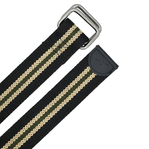 Ficuster Unisex Double Ring Nickel Buckle Black Cotton Canvas Belt