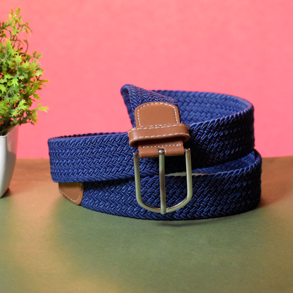 Ficuster Unisex Dark Blue Elastic Nylon Canvas Braided Belt