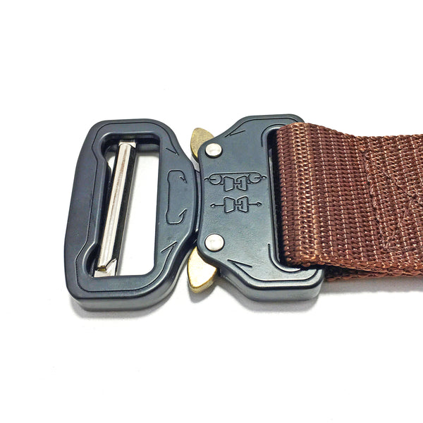 Ficuster Unisex Dark Brown Metal Push Lock Buckle Nylon Canvas Braided Belt