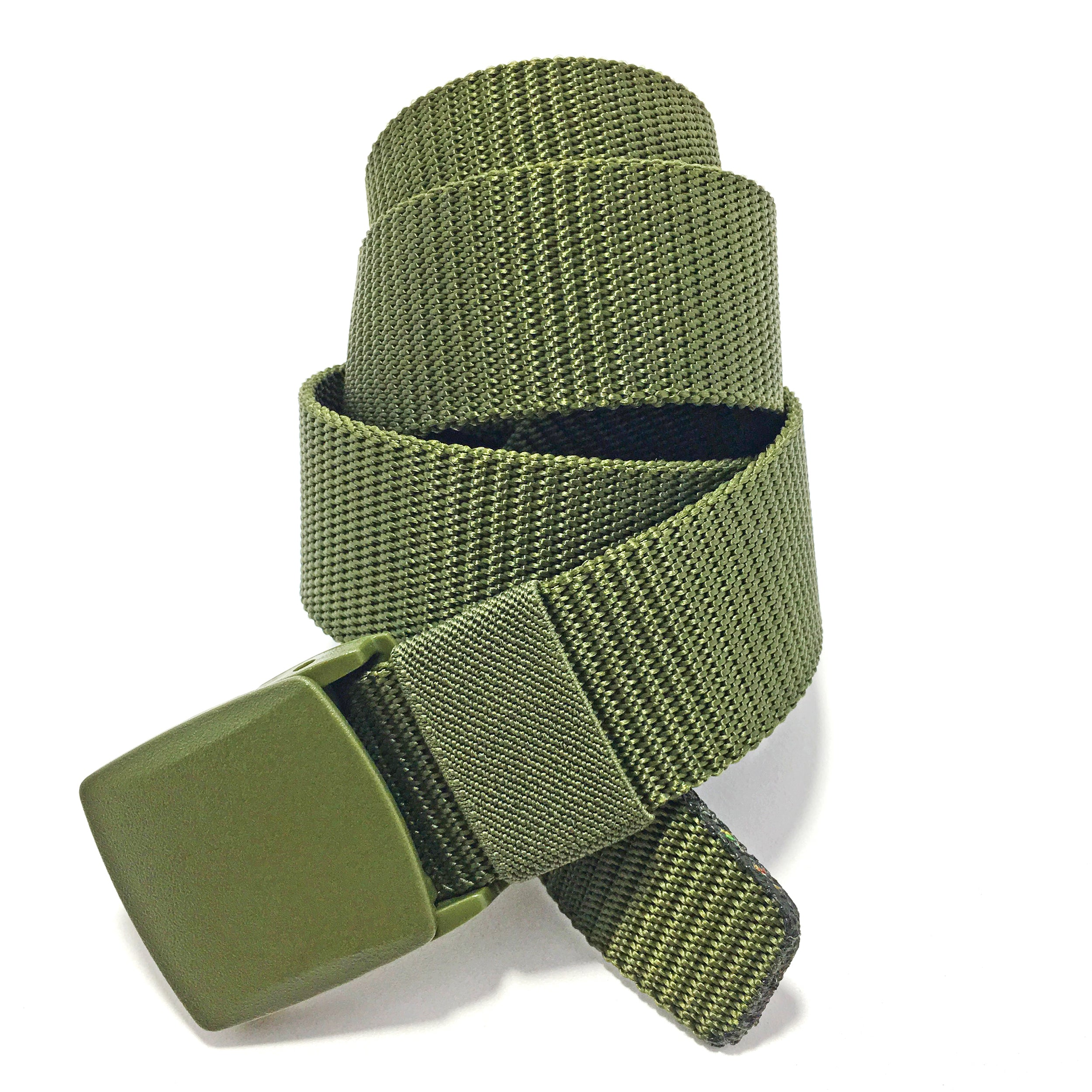 Ficuster Unisex Military Green Plastic Buckle Nylon Canvas Braided Belt