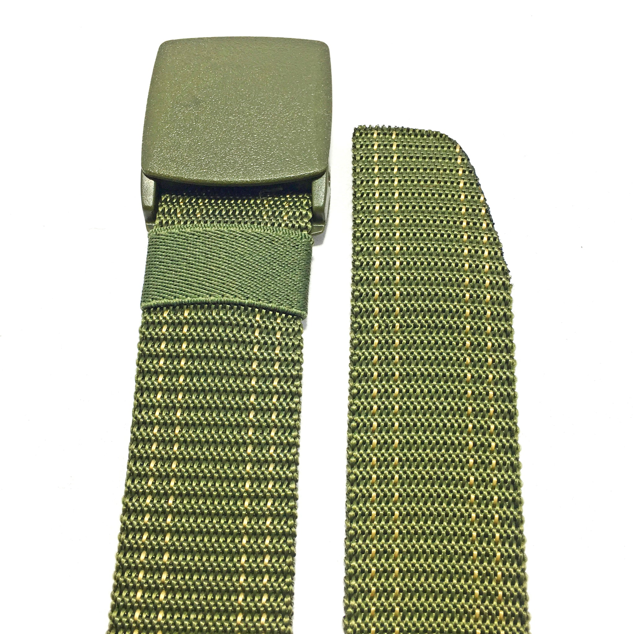 Ficuster Unisex Military Green Plastic Buckle Dual Stitch Nylon Canvas Braided Belt