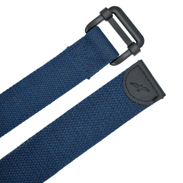 Ficuster Unisex Metal Buckle Dark Blue Cotton Canvas Belt