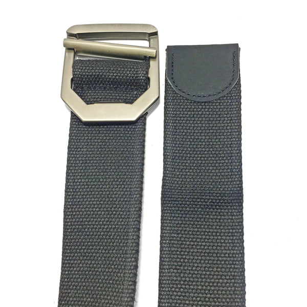 Ficuster Unisex Metal Buckle Black Cotton Canvas Belt