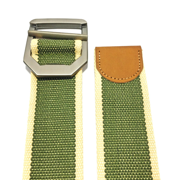 Ficuster Unisex Metal Buckle Military Green Cotton Canvas Belt