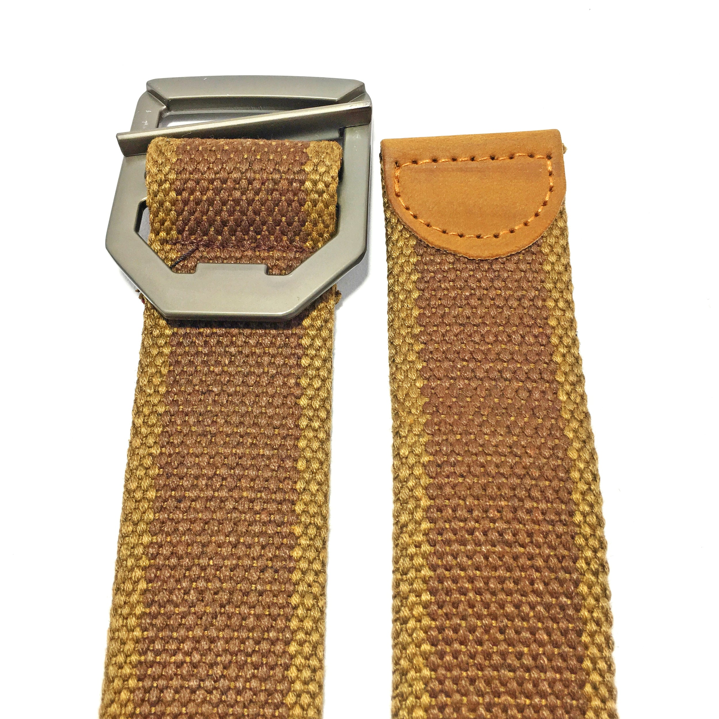 Ficuster Unisex Metal Buckle Brown Cotton Canvas Belt