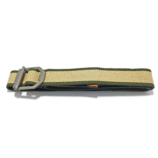 Ficuster Unisex Metal Buckle Cream Cotton Canvas Belt