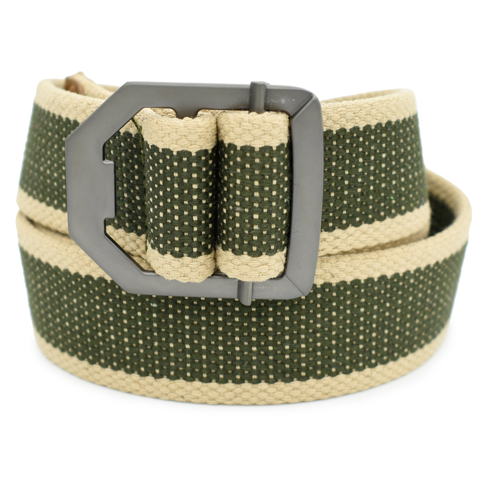 Ficuster Unisex Military Green Metal Buckle Cotton Canvas Belt
