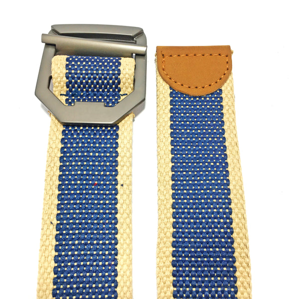 Ficuster Unisex Dark Blue Metal Buckle Cotton Canvas Belt