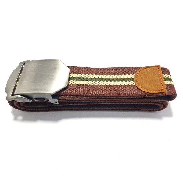 Ficuster Unisex Solid Metal Buckle Dark Brown Cotton Canvas Belt