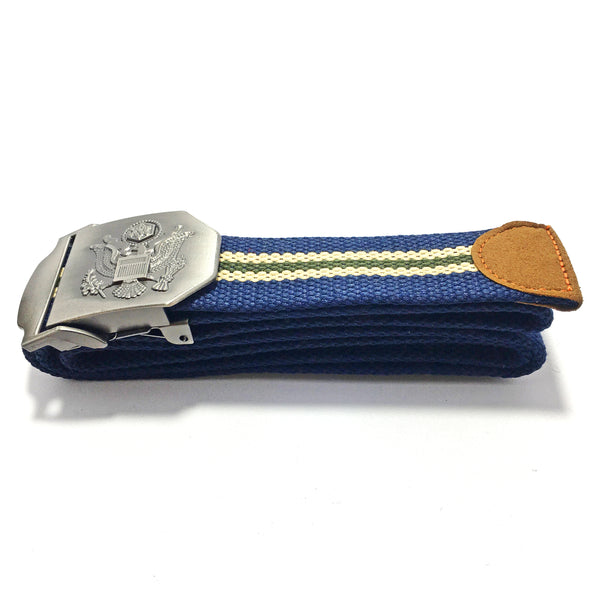 Ficuster Unisex Solid Metal Buckle Dark Blue Cotton Canvas Belt