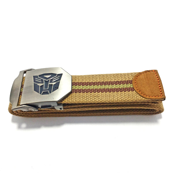 Ficuster Unisex Solid Metal Buckle Brown Cotton Canvas Belt