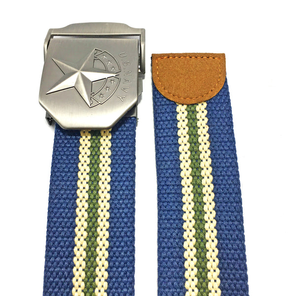Ficuster Unisex Solid Metal Buckle Navy Blue Cotton Canvas Belt