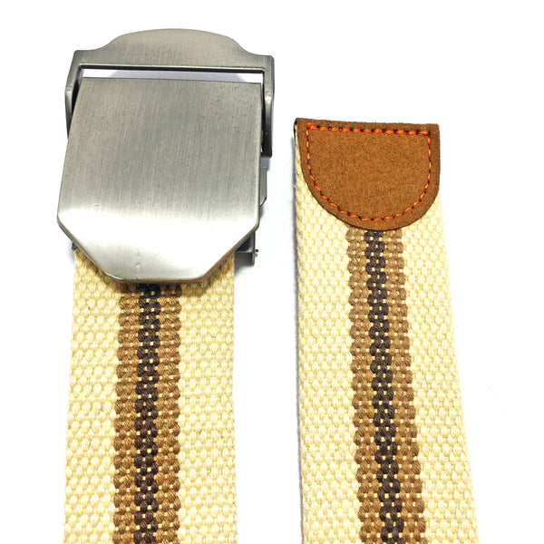 Ficuster Unisex Solid Metal Buckle Beige Cotton Canvas Belt