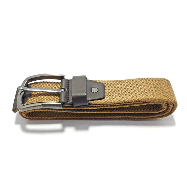 Ficuster Unisex Solid Metal Buckle Brown Braided Cotton Canvas Belt