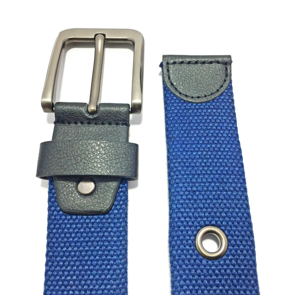 Ficuster Unisex Solid Metal Buckle Dark Blue Braided Cotton Canvas Belt