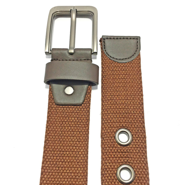Ficuster Unisex Solid Metal Buckle Dark Brown Braided Cotton Canvas Belt