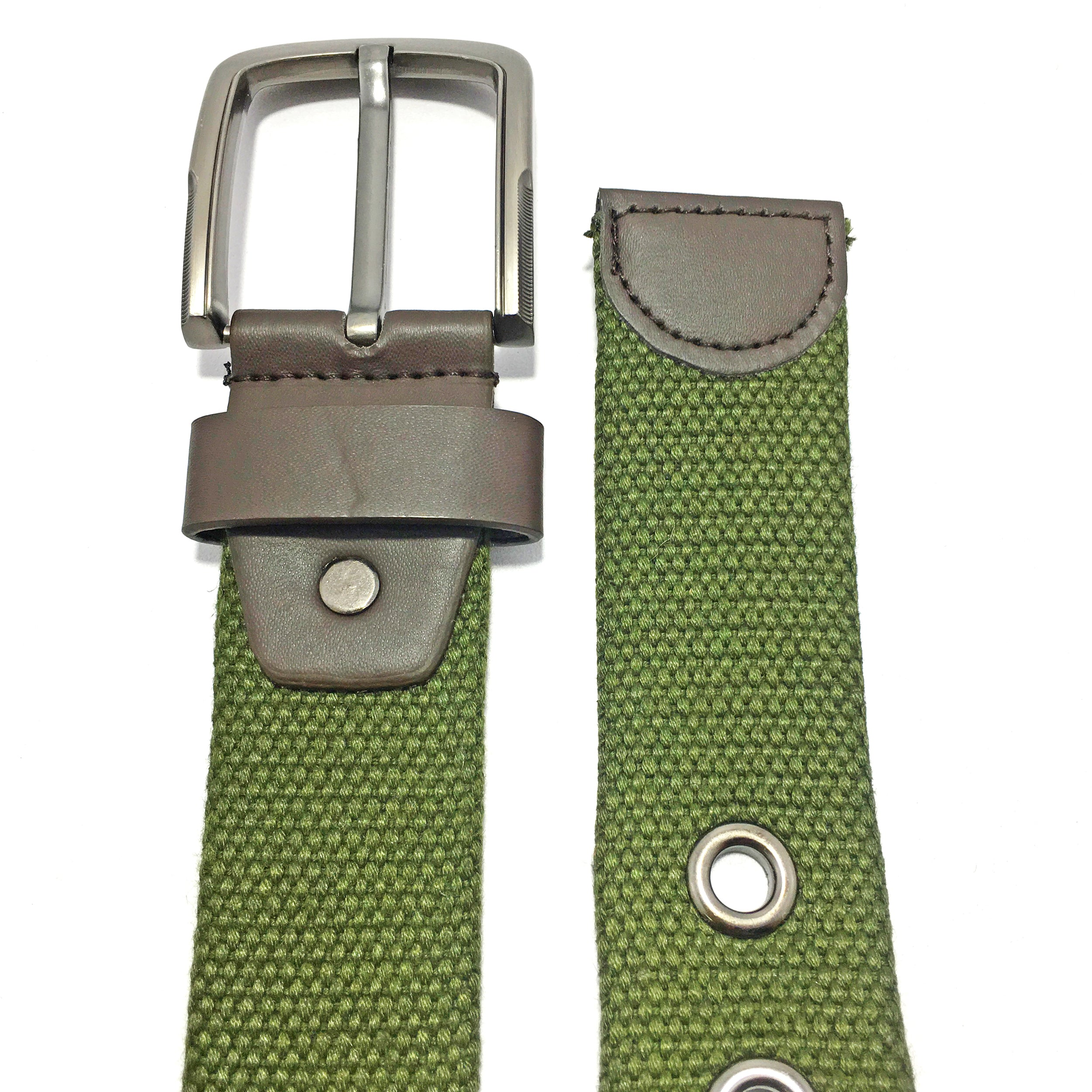 Ficuster Unisex Solid Metal Buckle Military Green Braided Cotton Canvas Belt