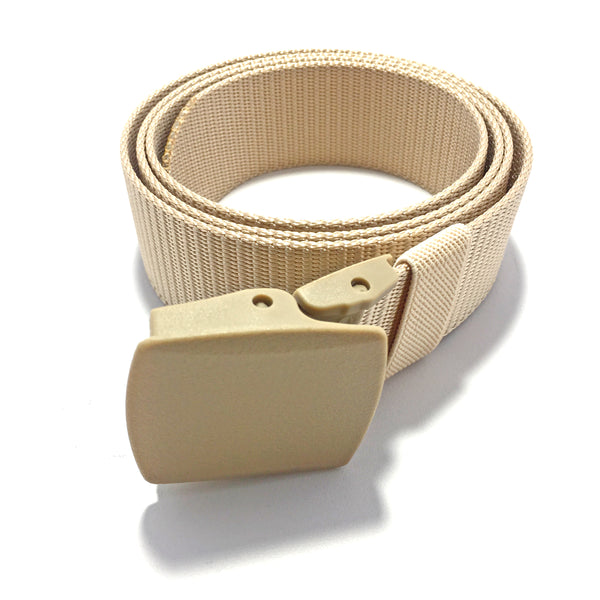 Ficuster Unisex Autogrip Plastic Buckle Beige Braided Nylon Canvas Belt