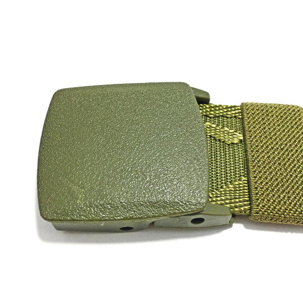 Ficuster Unisex Autogrip Plastic Buckle Military Green Braided Nylon Canvas Belt