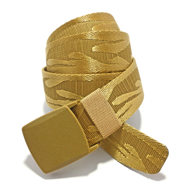 Ficuster Unisex Autogrip Plastic Buckle Golden Braided Nylon Canvas Belt