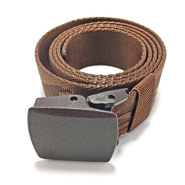 Ficuster Unisex Autogrip Plastic Buckle Brown Braided Nylon Canvas Belt