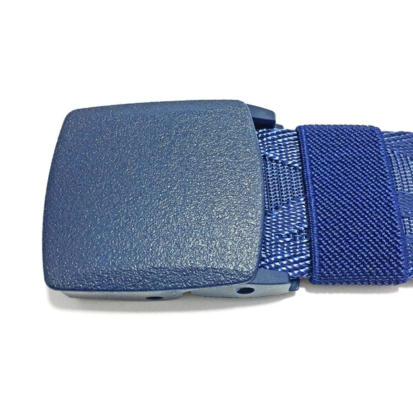 Ficuster Unisex Autogrip Plastic Buckle Blue Braided Nylon Canvas Belt
