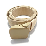 Ficuster Unisex Autogrip Plastic Buckle Braided Beige Nylon Canvas Belt
