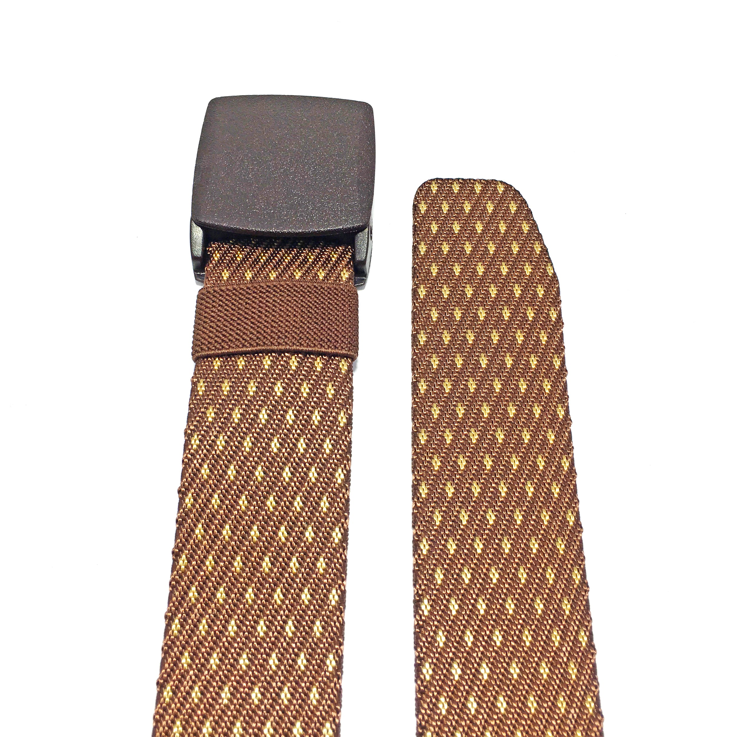 Ficuster Unisex Autogrip Plastic Buckle Braided Brown Nylon Canvas Belt