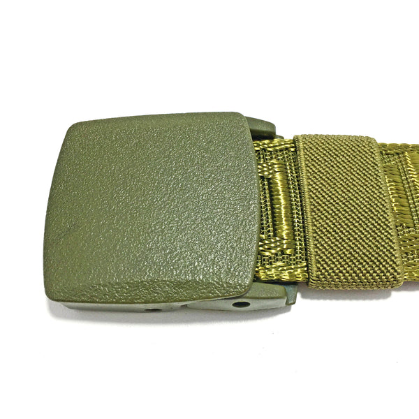 Ficuster Unisex Autogrip Plastic Buckle Braided Military Green Nylon Canvas Belt