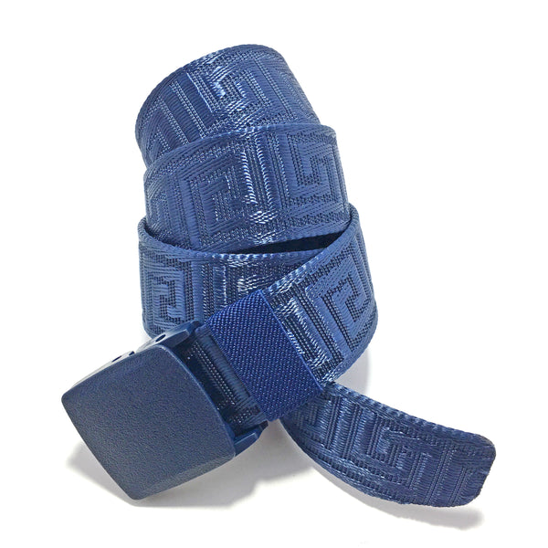Ficuster Unisex Autogrip Plastic Buckle Braided Blue Nylon Canvas Belt