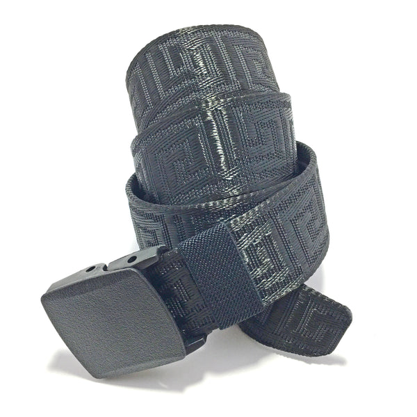 Ficuster Unisex Autogrip Plastic Buckle Braided Black Nylon Canvas Belt