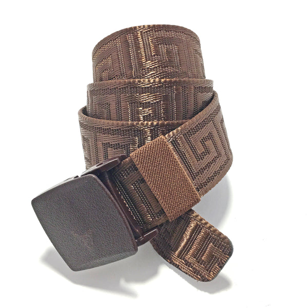 Ficuster Unisex Autogrip Plastic Buckle Brown Nylon Canvas Braided Belt