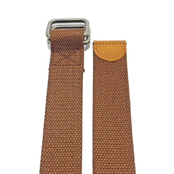 Ficuster Unisex Double Ring Metal Buckle Brown Cotton Canvas Braided Belt